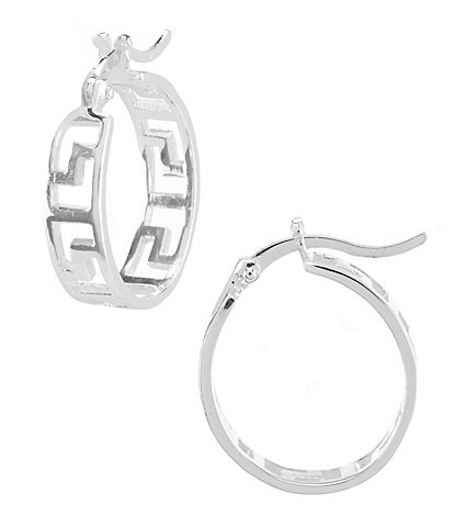 Argento Vivo Greek Key Hoop Earrings