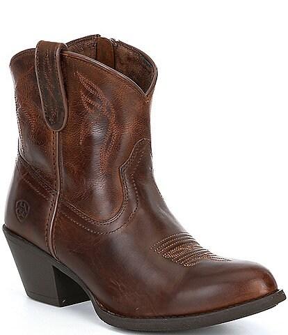 Ariat Darlin Short Leather Block Heel Western Boots