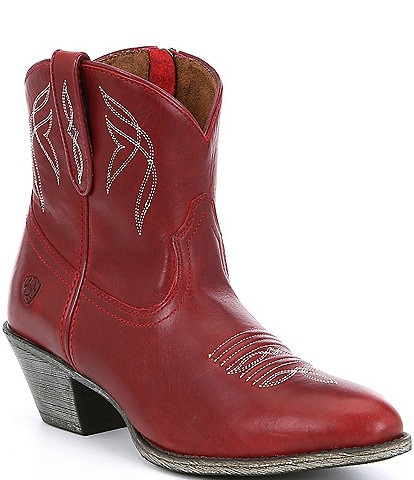 Ariat Darlin Short Leather Block Heel Western Boots