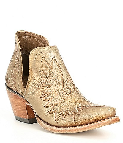 Ariat Dixon Distressed Leather Gold Western Block Heel Boots