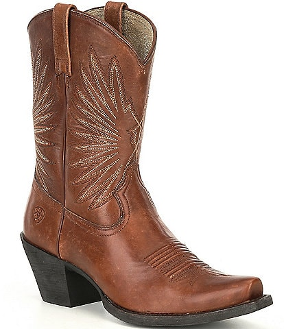 Ariat Goldie Leather Western Snip Toe Mid Block Heel Boots