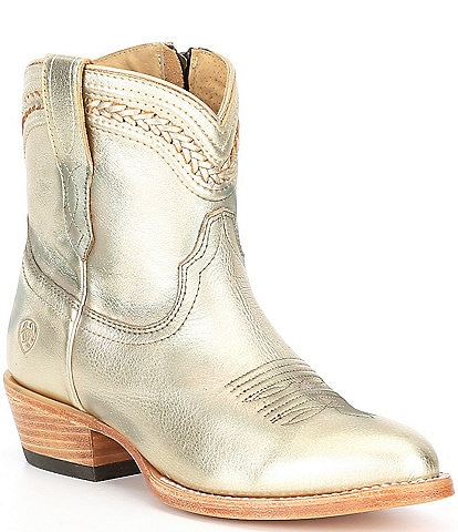 Ariat Legacy R Toe Braided Cord Detail Leather Block Heel Western Booties