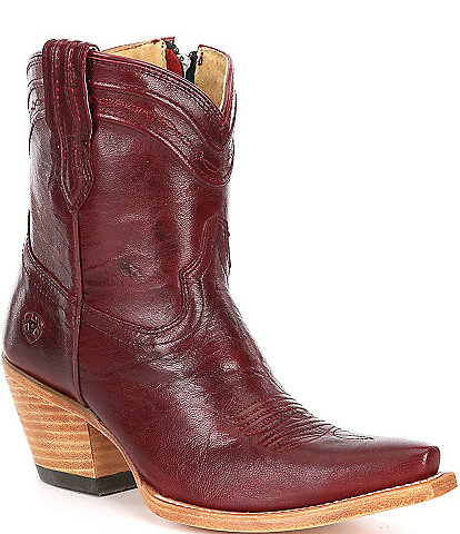 Ariat Legacy X Toe Cord Detail Leather Block Heel Western Booties