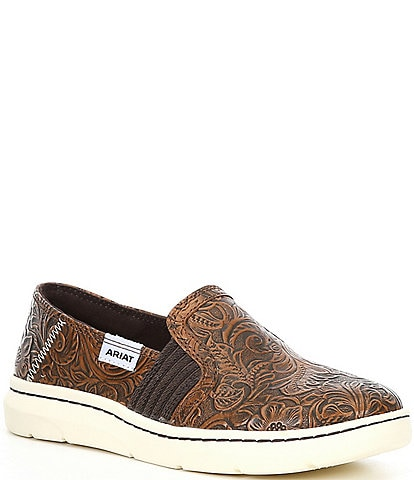 Ariat Ryder Floral Embossed Leather Slip-Ons