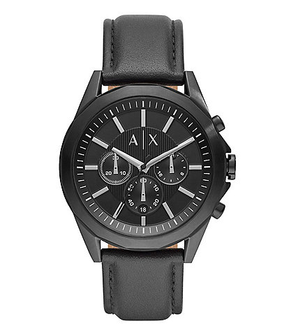 Armani Exchange AIX Chronograph Black Leather Watch