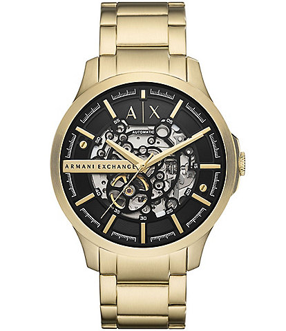 Armani Exchange Automatic Gold-Tone Stainless Steel Watch