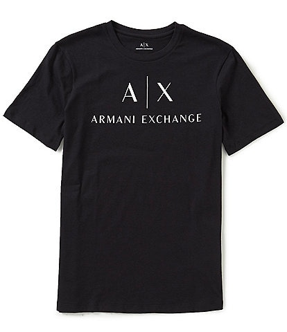98cbbe492e674 Armani Exchange AX Signature Logo Crew Neck Short-Sleeve Graphic Tee
