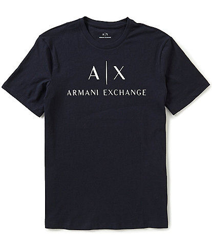 Armani Exchange Slim-Fit AX Signature Logo Crew Neck Short-Sleeve Graphic Tee