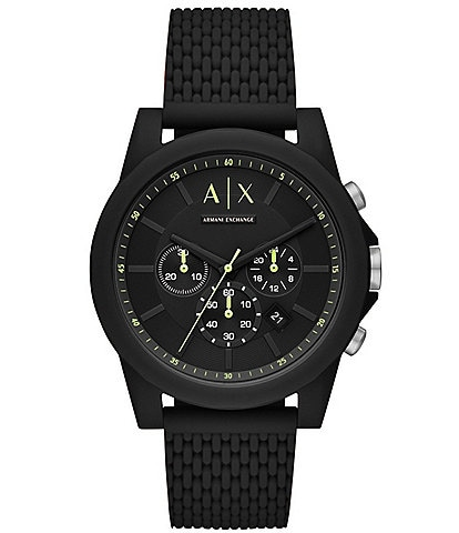 Armani Exchange Chronograph Textured Black Silicone Watch