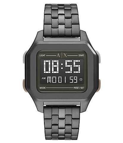 Armani Exchange Digital Gunmetal Stainless Steel Watch