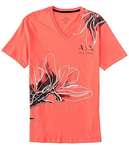 Armani Exchange Hibiscus Floral Print Short-Sleeve V-Neck Tee