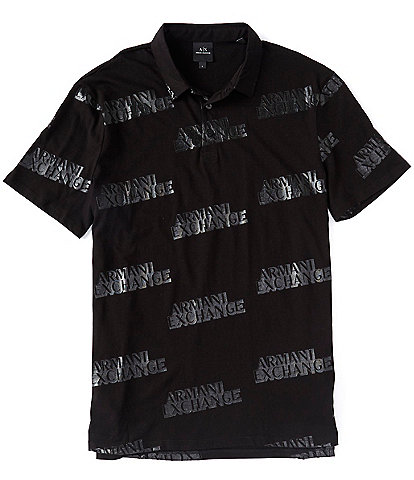 Armani Exchange Logo Print Short-Sleeve Polo Shirt
