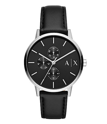 Armani Exchange Men's Multifunction Black Leather Watch