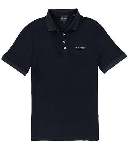 Armani Exchange Milano New York Logo Short-Sleeve Pique Polo Shirt