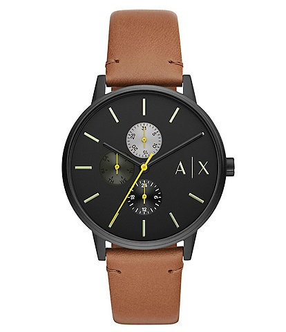 Armani Exchange Multifunction Brown Leather Watch