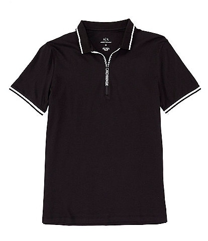 Armani Exchange Quarter-Zip Short-Sleeve Polo Shirt