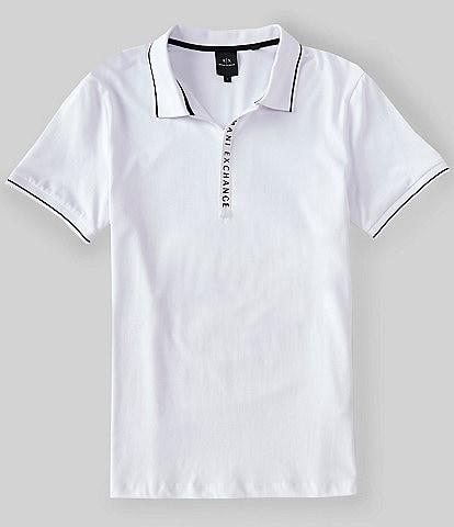 Armani Exchange Slim-Fit Zipper Logo Short-Sleeve Polo Shirt