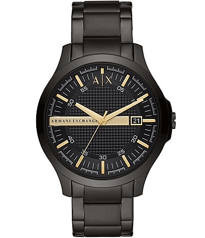 Armani Exchange Three-Hand Black Stainless Steel Bracelet Watch