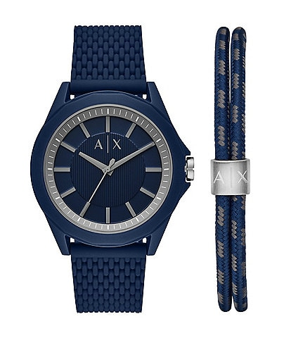 Armani Exchange Three-Hand Blue Silicone Watch and Bracelet Gift Set