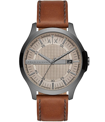 Armani Exchange Three-Hand Grey Dial Brown Leather Watch