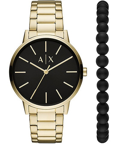 Armani Exchange Three-Hand Gold-Tone Stainless Steel Watch and Bracelet Gift Set