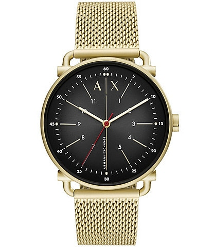 Armani Exchange Three-Hand Black Dial Gold-Tone Mesh Stainless Steel Mesh Bracelet Watch