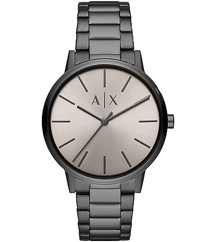 Armani Exchange Three-Hand Grey Dial Gunmetal Stainless Steel Watch