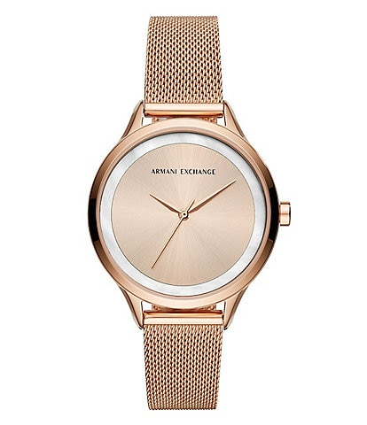 Armani Exchange Women's Rose Gold Mesh Bracelet Watch