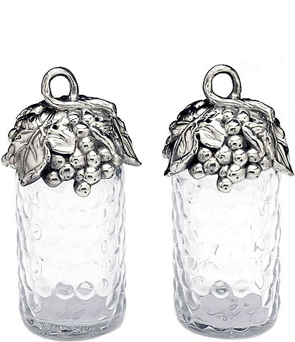 Arthur Court Grape Honeycomb Glass Salt & Pepper Shaker Set