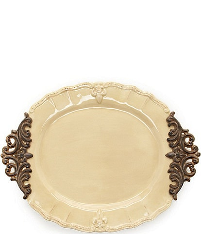 Artimino Fleur-de-Lis Beveled Earthenware Oval Platter