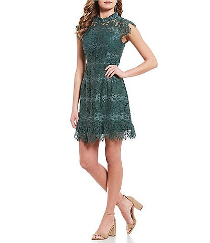 As U Wish Mock Neck Scalloped Lace Dress