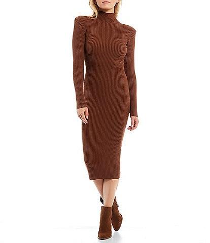 ASTR the Label Abilene Turtleneck Long Sleeve Sweater Midi Dress