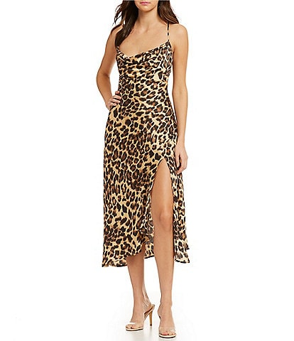 ASTR the Label Leopard Print Cowl Neck High Slit Midi Slip Dress