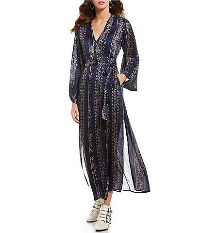 ASTR the Label Cordelia Printed Wrap Style Maxi Dress