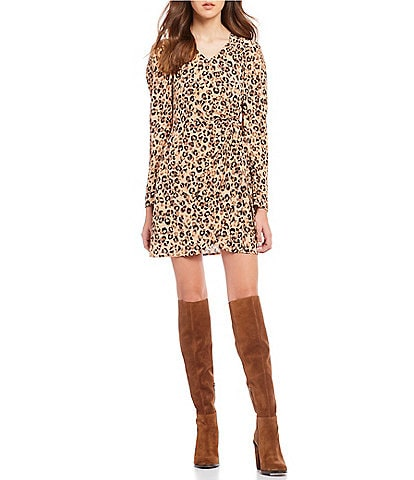 ASTR the Label Leopard Print Mini Wrap Dress