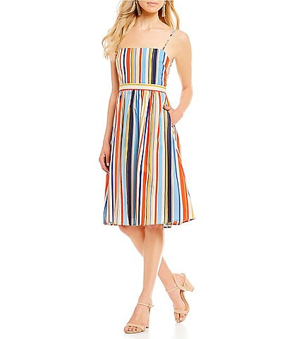 ASTR the Label Shannon Stripe Fit and Flare Midi Dress