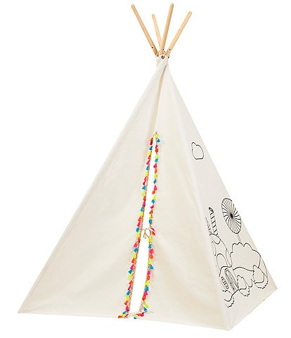 Wonder Wise by Asweets Painting Pom-Pom Trim Teepee Play Tent