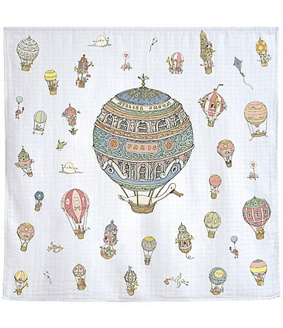 Atelier Choux Paris Baby Hot Air Balloons Swaddle Blanket with Gift Box