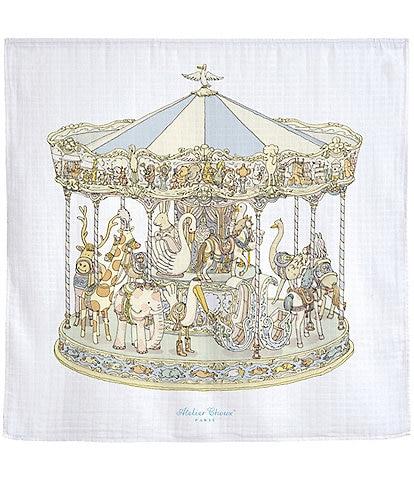 Atelier Choux Paris Baby Organic Cotton Carousel Swaddle Blanket
