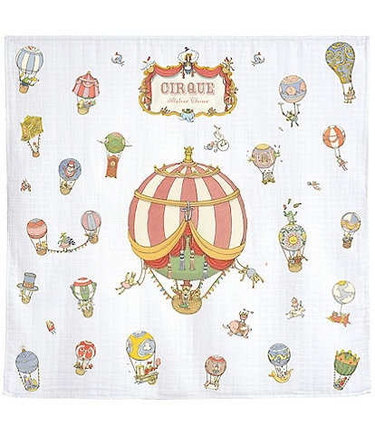 Atelier Choux Paris Baby Organic Cotton Circus Balloon Swaddle Blanket with Gift Box