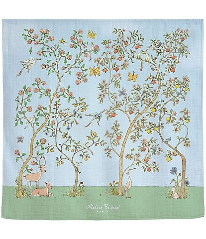Atelier Choux Paris Baby Organic Cotton In Bloom Swaddle Blanket with Gift Box