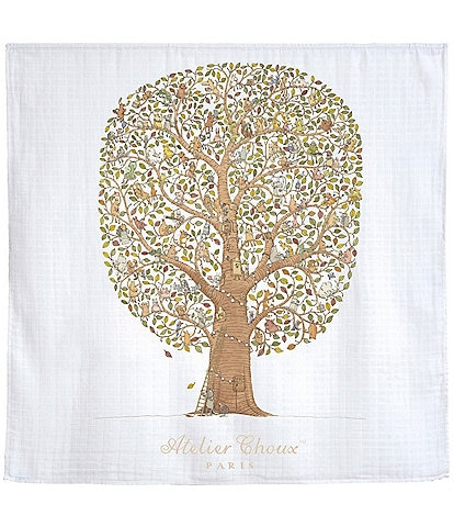 Atelier Choux Paris Organic Cotton Baby Friends & Family Tree Swaddle Blanket with Gift Box