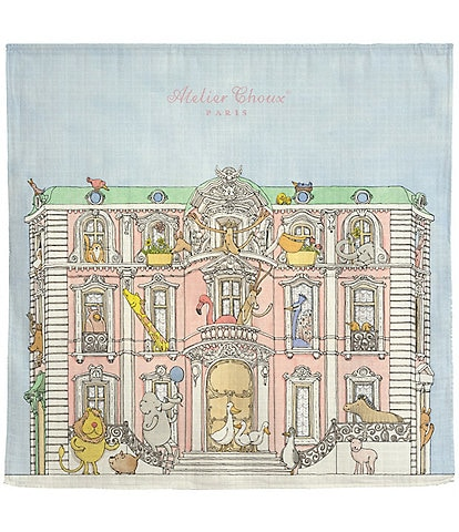 Atelier Choux Paris Organic Cotton Baby Monceau Mansion Swaddle Blanket with Gift Box