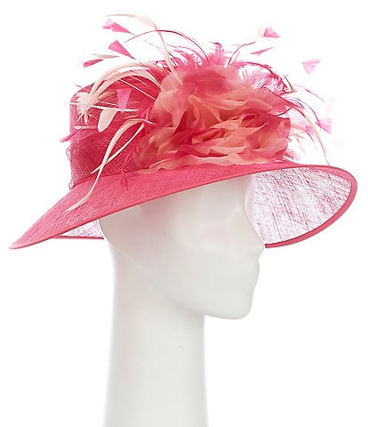August Hats Feather Sinamay Down Brim Dress Hat