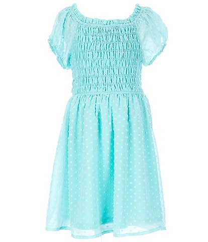 Ava & Yelly Big Girls 7-16 Blouson-Sleeve Clip-Dotted Fit-And-Flare Dress