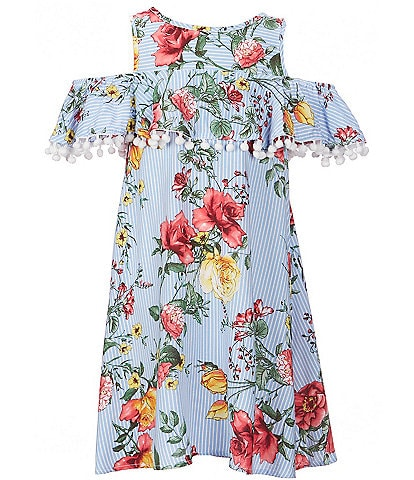 Ava & Yelly Big Girls 7-16 Floral/Stripe Flounce Shift Dress