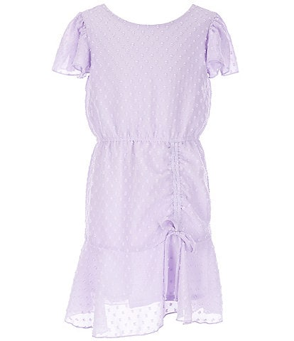 Ava & Yelly Big Girls 7-16 Flutter-Sleeve Clip-Dot Shirred-Front A-Line Dress