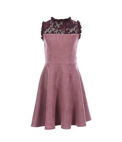 Ava & Yelly Big Girls 7-16 Lace Yoke Techno-Suede Skater Dress