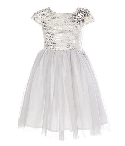 Ava & Yelly Little Girls 4-6X Foiled Texture/Mesh A-Line Dress