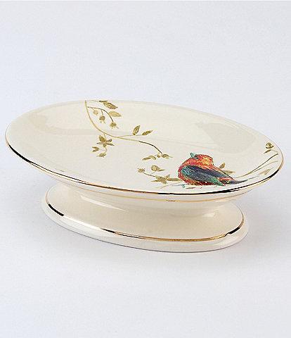 Avanti Linens Gilded Birds Ceramic Soap Dish